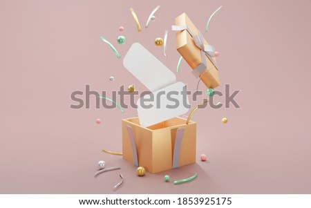 3D rendering concept of a present box opens up to show luxury geometric elements and blank papers for commercial design. 3D render.