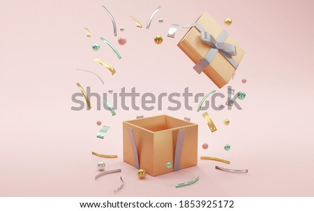 3D rendering concept of a present box opens up to show luxury geometric elements and blank space inside for commercial design. 3D render.