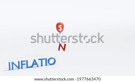 3D Rendering concept of financial inflation: text 'INFLATION' with a red balloon taking 'N' up on the air with a blank space on the right. 3D render. 3D illustration. Foto stock ©