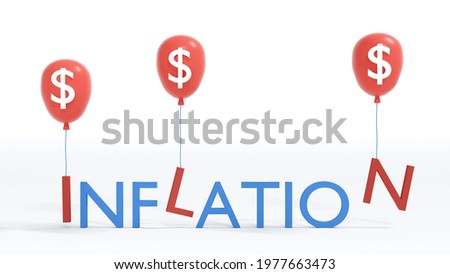 3D Rendering concept of financial inflation: text 'INFLATION' with red balloons taking 'I, L, N'  up on the air on background. 3D render. 3D illustration. Foto stock ©