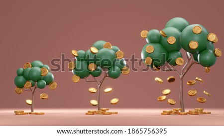 3D Rendering concept of money investment. Trees with coins falling down from small to big on background. 3D Render.