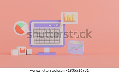 3d rendering concept spreadsheet software on computer with table, bar graph, pie chart on pink background.