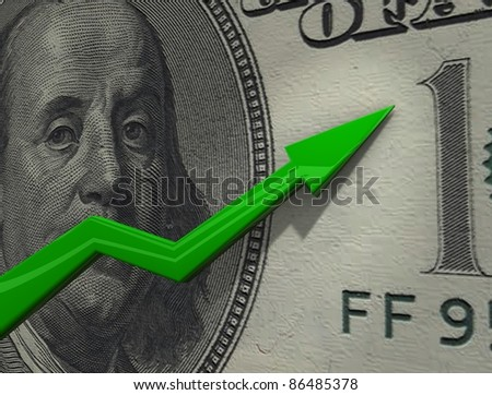 3d rendering, conceptual image, Rising chart of currency value.