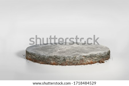 3D rendering concrete cement floor on circular layered soil stage, realistic 3D round podium with stone ground isolated on blue sky