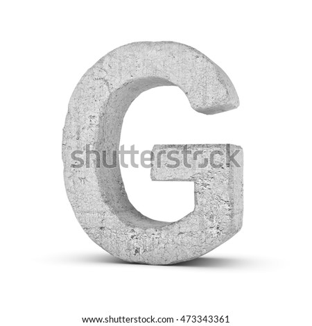 3D rendering concrete letter G isolated on white background. Signs and symbols. Alphabet. Cracked surface. Textured materials. Cement object. Stock fotó ©