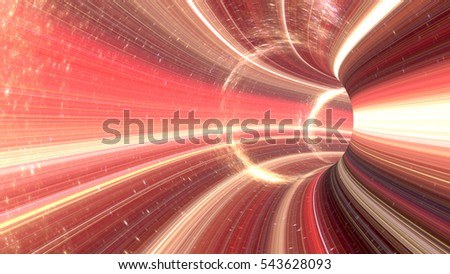 Stock Photo 3D rendering Cosmic wormhole tunnel