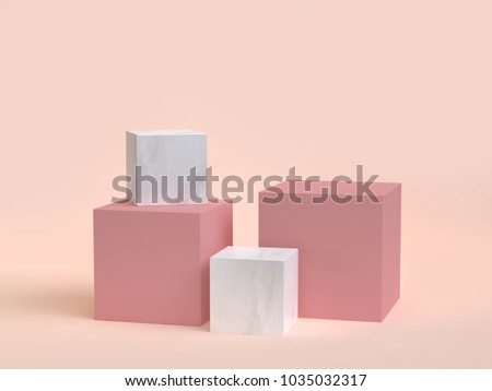 3d rendering cube-box marble minimal cream background