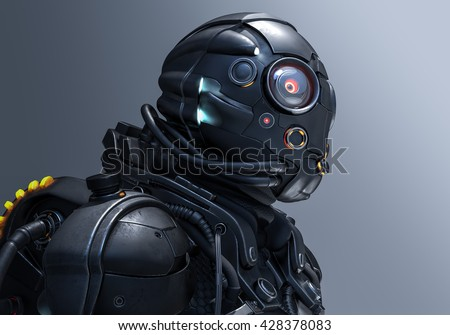 3D rendering cyborg girl