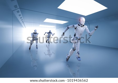 3d rendering cyborg running with fast speed in competition Stock photo ©
