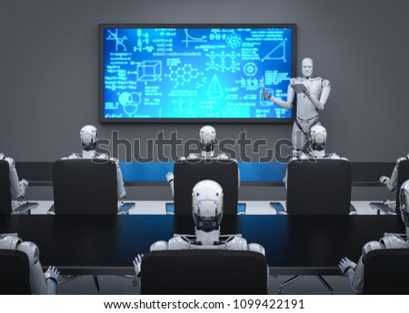 3d rendering cyborg teaching in classroom or training room