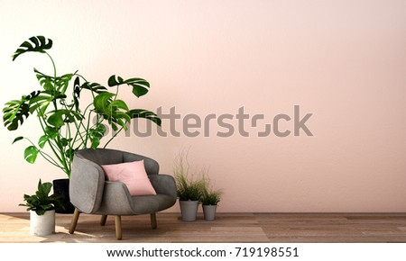 3d rendering,3d illustration,interior design for living area or reception in modern style with  armchair, table,plant on wood floor and pink wall