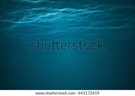 3d rendering. Deep into to sea. Underwater scene with bright beam pass through the surface.