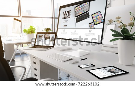 3d rendering devices on modern office. Devices design website on screen.