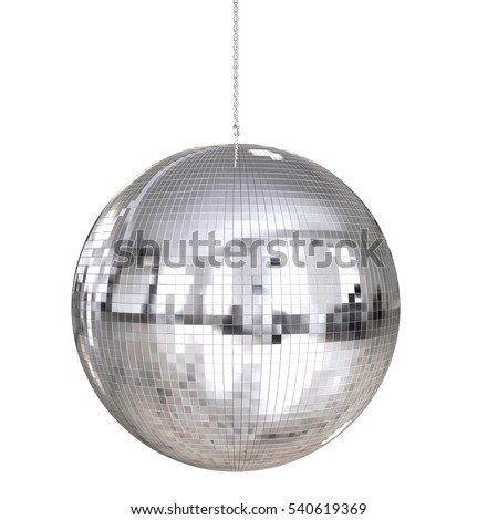 3d rendering disco ball hanging isolated on white