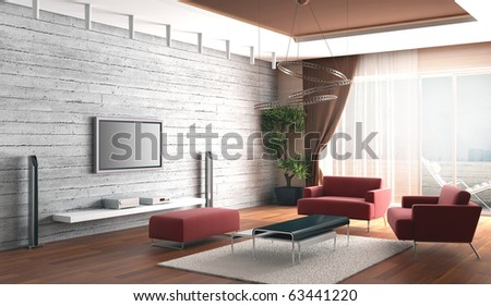 3d rendering. Drawing room a room with a stone wall and a house cinema near it and with cosy sofas