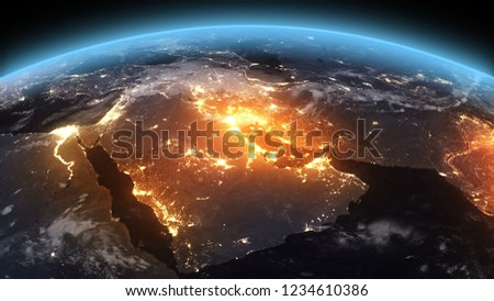 3D Rendering Earth Night to Day Sunrise Middle East