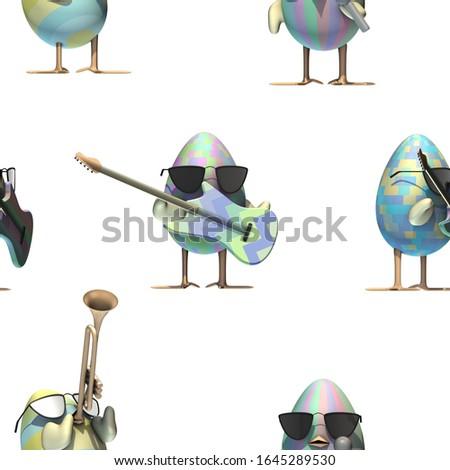 3d rendering - easter egg tileable pattern