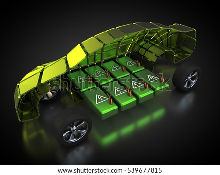 3D rendering: electric vehicle with open carbody with view at the battery pack Car is powered by electricity.