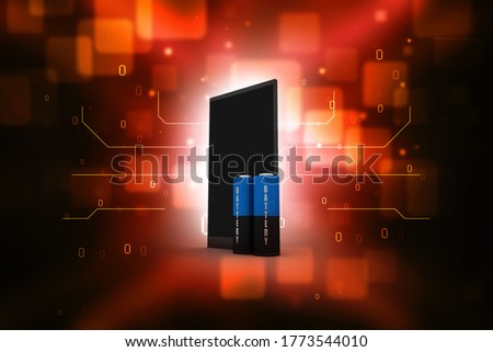 3d rendering Electrical energy and power supply source concept, accumulator battery with charging level full with mobile