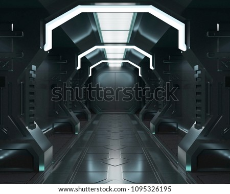 3D rendering elements of this image furnished ,Spaceship black and dark interior with view,tunnel,corridor