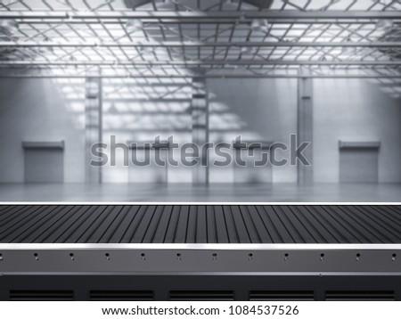 3d rendering empty conveyor line in factory Stockfoto ©