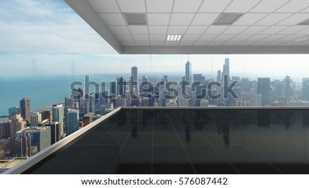 3d rendering empty office with chicago city background, interior illustration