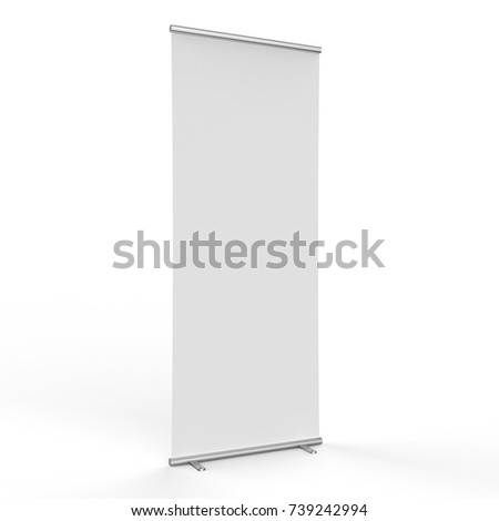 3d rendering empty roll up banner on white background