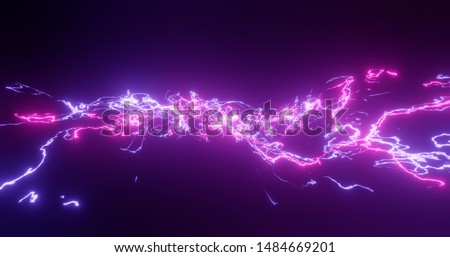 3d rendering. Fantastic background of bright glowing particles in deep space. Bright electric flashes