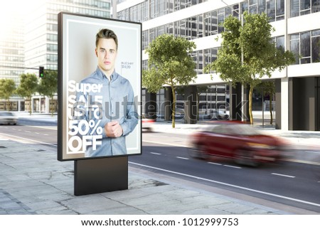 3d rendering fashion advertising poster on the city