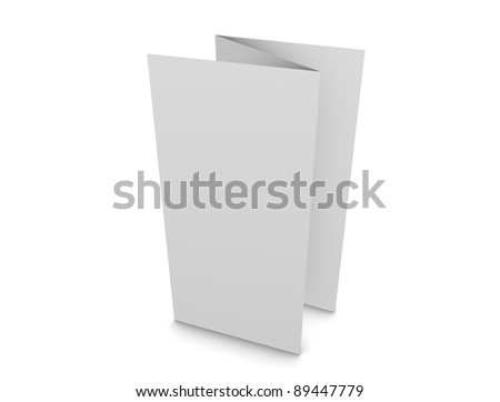 3d rendering, 3 fold brochure, copy-space, isolated on white.