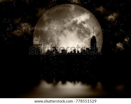 3D rendering. Full moon over night city.