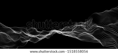 3D rendering future abstract digital particles background, Wave of particles pattern