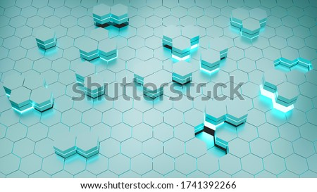 3D Rendering. Futuristic surface with emission blue of hexagonal abstract background. A metallic surface polygon pattern like honeycomb. The position block is not in the same plane.