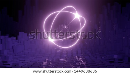 3d rendering. geometric shape of a spherical shape on the background of hexagonal pillars. Graphic illustration for your business.