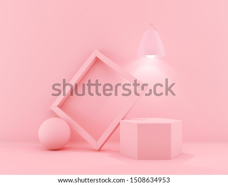 3d rendering Geometrical abstract background Scenes with podium scenes in pastel pink color.