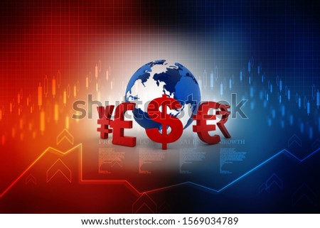 3d rendering Global Currencies sign