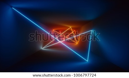 3d rendering, glowing lines, neon lights, abstract psychedelic background, red blue vibrant colors, product showcase template, laser show