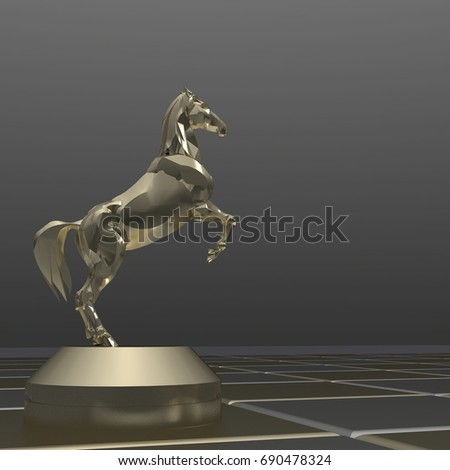 3d rendering gold metallic horse on chess board #690478324