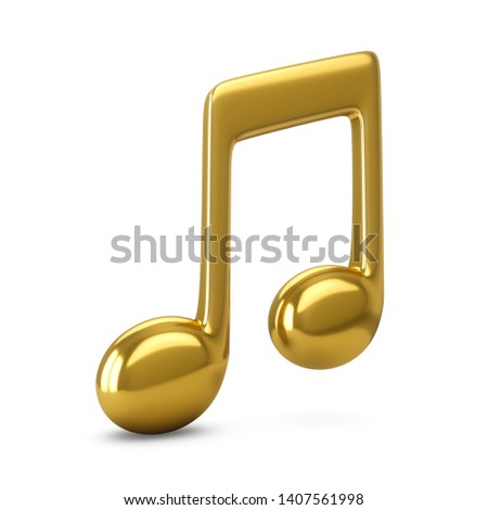 3d Rendering Golden Music Note isolated on white background stock photo