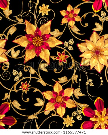 3d rendering. Golden stylized flowers, delicate shiny curls, paisley element, seamless pattern.