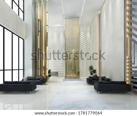3d rendering grand luxury hotel reception hall entrance and lounge restaurant Сток-фото ©
