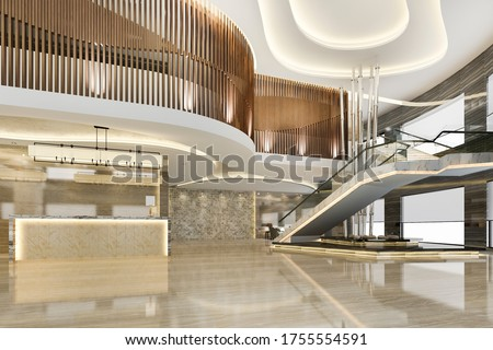 3d rendering grand luxury hotel reception hall entrance and lounge restaurant with stair Zdjęcia stock ©