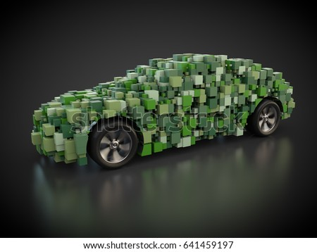 3D rendering: green car with abstract carbody made out of cubes Zdjęcia stock ©