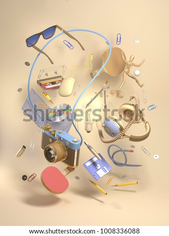 3d rendering group objects flying around light bulb. Creativity concept, thinking and get bright idea. Many various elements on beige background.