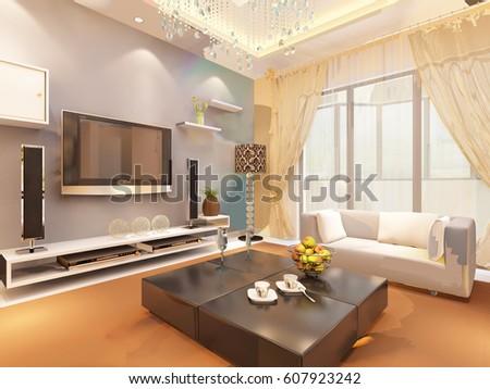 3d rendering home interior  #607923242