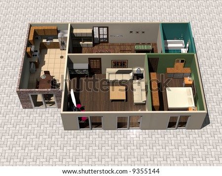 House Design on 3d Rendering House Plan Stock Photo 9355144   Shutterstock