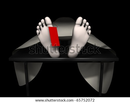 3d rendering human corpse, isolated on black background