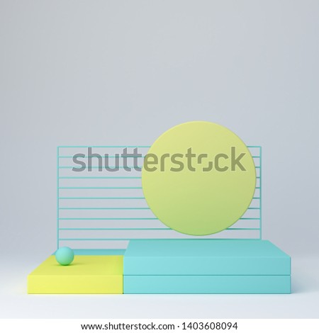 3d rendering illustration. Abstract podium with yellow and blue shapes, and blue grid. Geometric forms in modern minimal design. Minimalistic mock up for promotion, cosmetic background, product show.