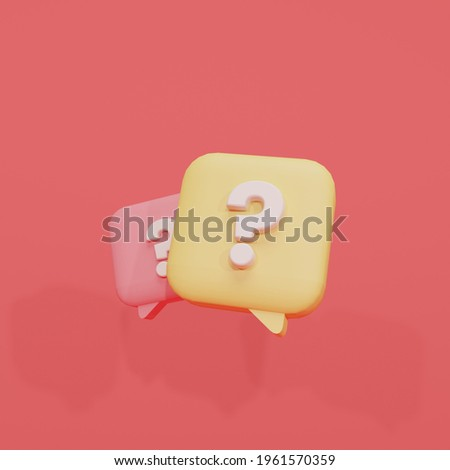 3d rendering illustration bubble chat icon question mark yellow and red, 3d, render, chat, question, suitable for web illustrations, hero pages, landing pages.