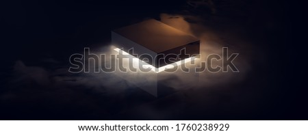 ( 3D Rendering, illustration ) mysterious box opening with rays of light, high contrast image Stockfoto ©